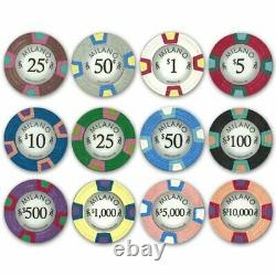 1,000 Ct Milano Set 10g Casino Clay Chips with Acrylic Display Case for