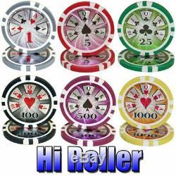 1,000ct. Hi Roller 14g Poker Chip Set in Aluminum Metal Carry Case