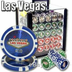1,000ct. Las Vegas Casino 14g Poker Chip Set in Acrylic Carry Case