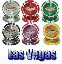 1,000ct. Las Vegas Casino 14g Poker Chip Set in Aluminum Metal Carry Case