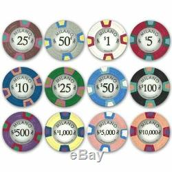 1,000ct. Milano Casino Clay 10g Poker Chip Set in Acrylic Carry Case