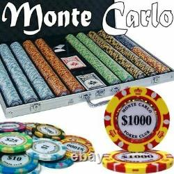 1,000ct. Monte Carlo 14g Poker Chip Set in Aluminum Metal Carry Case BRAND NEW