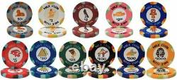 1,000ct. Nile Club Ceramic 10g Poker Chip Set in Acrylic Carry Case