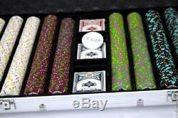 1,000ct. Rock & Roll Clay Composite 13.5g Poker Chip Set, Rolling Aluminum Case