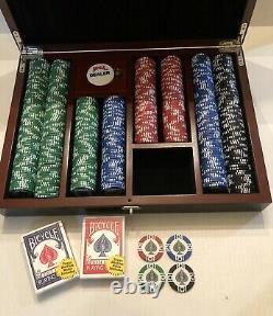 1 Used Set Premium Bicycle Mega Master Poker Set with 500 11.5 Gram Chips