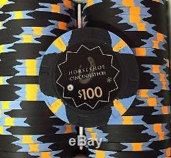 100 Horseshoe Cincinnati Casino Chips PAULSON Clay TOP HAT CANE Heads Up Set H