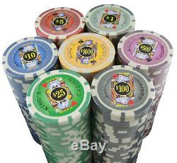 1000 11.5g Casino Type Real Poker Chips with Accessories 7 Denominations Chips