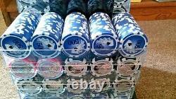 1000 13G YIN YANG/Casino Royale CASINO CLAY POKER CHIPS SET ACRYLIC CASE Amazing
