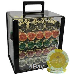 1000 14G MONTE CARLO MILLIONS POKER CHIPS SET ACRYLIC CASE