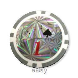 1000 Casino Table Hi Roller Poker Chips Set with Aluminum Case