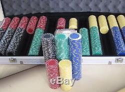 1000 Chips Poker Diamond Chip Set With Dice Decks Dealer Kit & Silver Case Keys