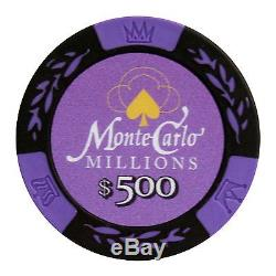1000 Ct Monte Carlo Millions Clay Poker Chip Set with Aluminum Case + 5pc Dice