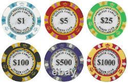 1000 Ct Monte Carlo Poker Chip Set in Aluminum Case CSMC-1000AL Brand NEW
