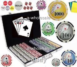 1000 Las Vegas Gambling Casino Poker Chips Set with Bonus
