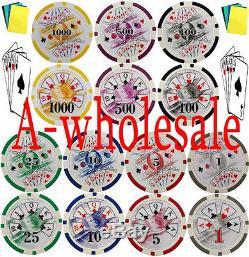 1000 Las Vegas Gambling Casino Poker Chips Set with Bonus Standard Casio Weight