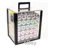 1000 Piece Ben Franklin 14 Gram Clay Poker Chip Set with Acrylic Case (Custom)