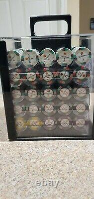 1000 Piece Claysmith Showdown Poker Chips Set with acrylic carrying case