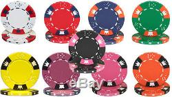 1000 Piece Crown & Dice 14 Gram Clay Poker Chip Set Rolling Aluminum Case Custom