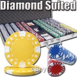 1000 Piece Diamond Suited 12.5 Gram Clay Poker Chip Set Aluminum Case (Custom)