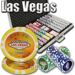 1000 Piece Las Vegas 14 Gram Clay Poker Chip Set with Aluminum Case (Custom) New