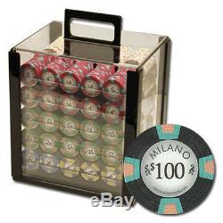 1000 Piece Milano 10 Gram Clay Poker Chip Set with Acrylic Case (Custom) New