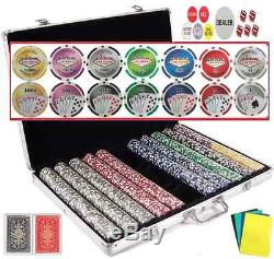 1000 Vegas Poker Chips Set 7 Colors & 14 Designs in One