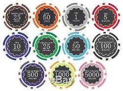 1000 ct 14g Poker Chips Set + Dice, Card Decks, Dealer Button in Rolling Case