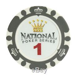 1000pc National Poker Series Clay Poker Chip Set with Aluminum Case + Cut Cards