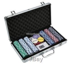 11.5g Poker Dice Chip Set +2 decks of playing cards 300 Chips in Aluminum Case