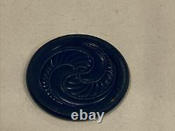110 Vintage Spiral And Plain Clay Poker Chip Set And Brown Swirl Caddy Bakelite