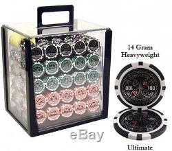 14-gram Heavyweight Poker Chips Set Of 1000 In Acrylic Case game card casino