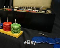 1930's Poker Chip Set, Unique Bakelite Chip Holders