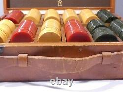 1940's Diminutive Set Of 1 1/8 Inch Bakelite Gaming Chips In Leather Case