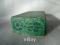 1940s Set of 100 Catalin Marbleized Swirl Bakelite Poker Chips Red Black Yellow