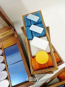 1970s Luxe ITALIAN Poker Set 585 European Plaque Chips Birds Eye Case Midcentury