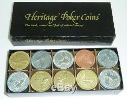 1982 Heritage Poker Chips Set of 100 Eagle Gold Silver Bronze Tone Vintage