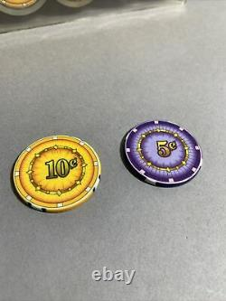 200 CHIPCO Poker Chips Set of 100 Purple 5 Cents, 100 Orange 10 Cents