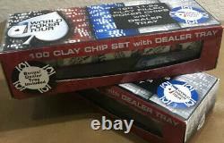 (200) Two Sets Official World Poker Tour 100 11.5g Clay With Black Dealer Tray