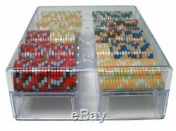 200ct. Nile Club Ceramic 10g Poker Chip Set in Acrylic Carry Case with Lid