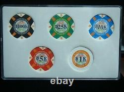 2016 BTCC Mint Poker Chip Series 1k, 5k, 10k, 25k & 100k Bits Set Unfunded