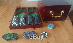 228 Tangiers Casino Las Vegas CENTENNIAL poker brass-chips set with mahogany case