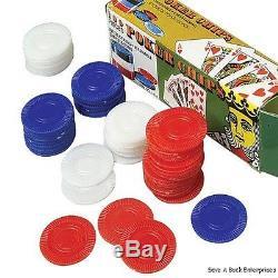 2500 Plastic Poker Chip set Red White Blue- bulk lot