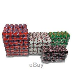 2697 Pro Tri Color 3 Crowns Poker Chips With Racks Heavy Weight Multi-Table Set