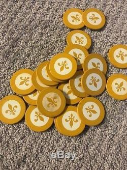 288 Vintage Fleur De Lis Poker Home Casino Chips Set Lot Rack + Playing Cards