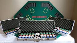 3 Sets of 15g Clay Poker Chips (500 per set) Folding Poker Table Top