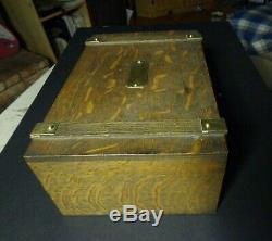 300 Antique or vintage Oak Rack & Box casino inlaid poker chips set w key