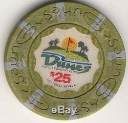 300 Authentic Dunes Casino Poker Chip Set w / Aluminum Case and 2 Bellagio Decks