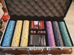 300 EPT Ceramic Poker Chip Set with aluminium Case, Cards + Dice