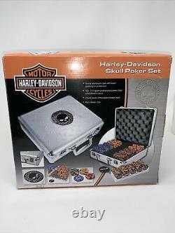 300 Piece 11.5 Gram Harley Davidson Skulls Poker Chip Set Harley Aluminum Case