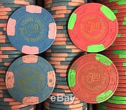 300 Town Tavern Casino Chips Las Vegas Nevada Set PAULSON Top Hat Cane Clay